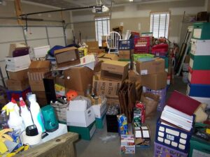 Extremely messy and disorganized garage interior