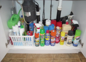 Various household chemicals and cleaning supplies under a kitchen sink cabinet