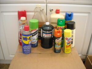 Various flammable spray items that are prohibited on Arpin of RI shipments