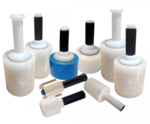 An array of different sized lollipop stretch wrap dispensers