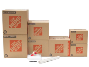 Assorted moving boxes available for purchase at Home Depot.