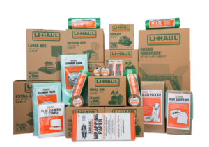 An array of moving cartons and supplies available for purchase at U-Haul