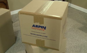 professionally packed Arpin of RI carton with all of the seams sealed with tape