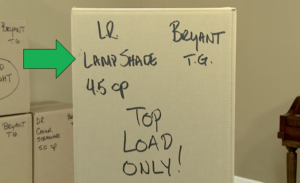 professionally labeled carton packed by Arpin of RI with the contents of the carton labeling highlighted