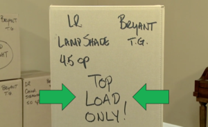 professionally labeled carton packed by Arpin of RI with special handling instruction labeling highlighted