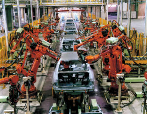 Efficient assembly line in a car manufacturing plant.