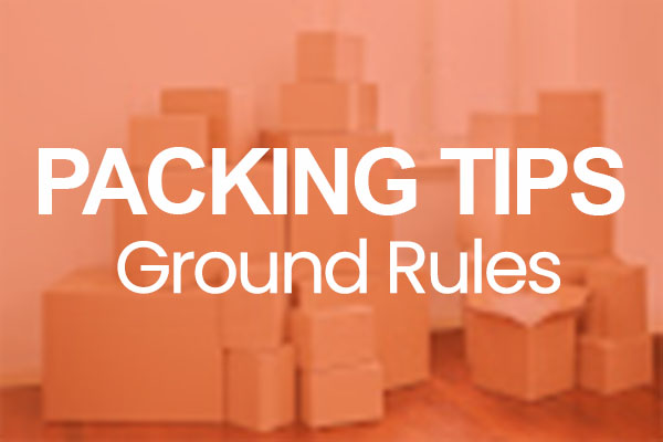 Packing Tips Ground Rules type on an image of packed boxes with orange overlay