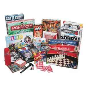 a large grouping of classic board games like Monopoly, Scrabble, and chess