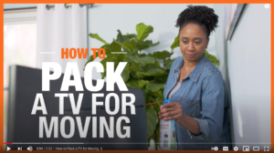 Image of Home Depot YouTube video demonstrating how to pack a flat-screen TV.