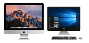 Image of a Mac and a PC side by side