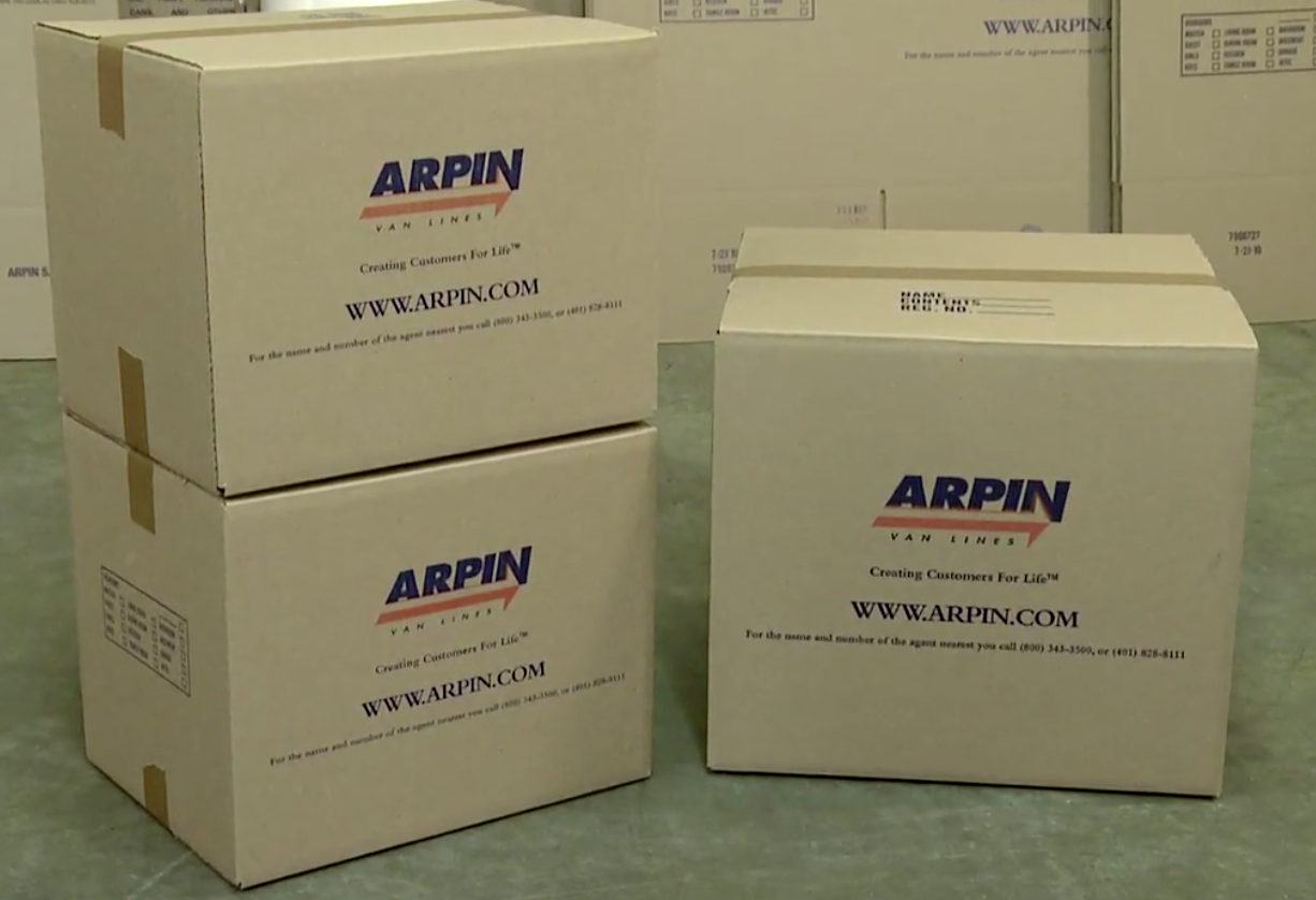 Arpin of RI three cube and one-point five cartons.