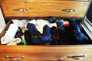 a dresser drawer full of socks