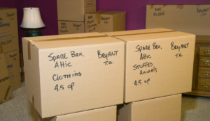 a pair pf properly packed and labeled cartons of clothing.