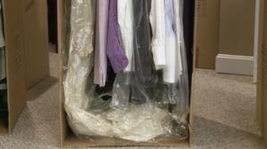 A plastic garment bag
