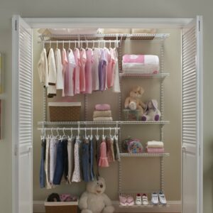 a closet filled with kid's clothing